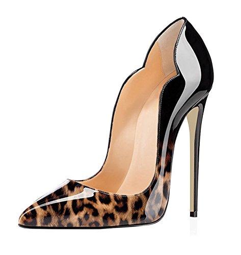 EDEFS Scarpe Col Tacco Donna Classico Ritaglio High Heels Chiuse Davanti Scarpa 12cm Leopard