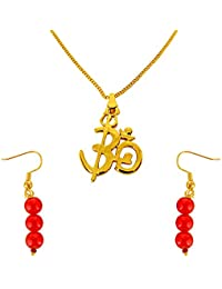 Surat Diamonds OM Shivay Trishul Gold Plated Religious Pendant And Red Shell Pearl Wire Earring Set For Women...