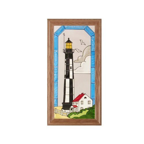 Cape Henry Lighthouse (Virginia Cape Henry Lighthouse Painted Glass Panel C-084 by Silver Creek)