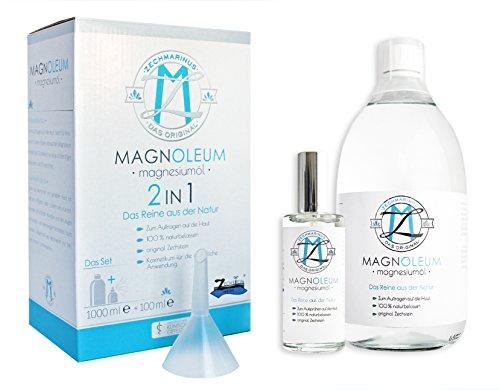 Magnesiumöl Set Original Zechstein – Preisvorteil - 100 ml + 1L - Glasflaschen zum Nachfüllen + Trichter - dermatologisch klinisch getestet – Magnesium Oil – Magnesiumchlorid / Magnesium Sole