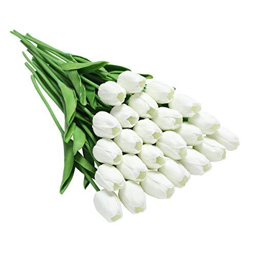 Tifuly 24 Stück künstliche Tulpen, realistische Latex-Tulpe mit weichem PU-Stiel, Elegante Blumendekoration für Brautsträuße, Haus, Party, Büro, DIY Blumenarrangements(Weiß)