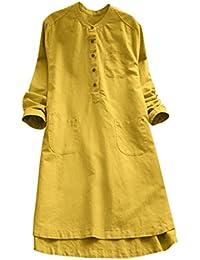Overdose Vestido de Mujer Retro de Manga Larga sólido sólido Flojo botón Tapas O-Cuello Blusa Vintage Mini…