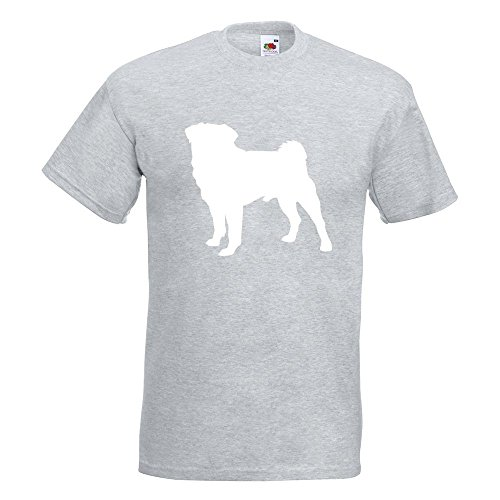 KIWISTAR - Mops Hundrasse Pug Carlin T-Shirt in 15 verschiedenen Farben - Herren Funshirt bedruckt Design Sprüche Spruch Motive Oberteil Baumwolle Print Größe S M L XL XXL Graumeliert