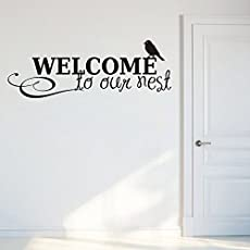Decals Design 'Welcome to Our Nest' Wall Sticker (PVC Vinyl, 70 cm x 25 cm, Black)