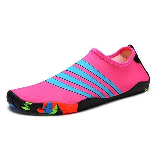 Wasserschuhe Strandschuhe Badeschuhe Damen Herren Schwimmschuhe Surfschuhe Aquaschuhe Barfuß Schuhe für Wassersport Pool Yoga(Pink Blau,38EU)