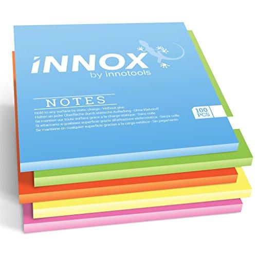 Elektrostatisch selbstklebende Haftnotiz | Für alle Oberflächen - Innovative Sticky Magnetic Notes ohne Klebstoff von INNOX | Ideen visualisieren, verschieben, strukturieren | Bunt, 10x10cm, 500 Blatt