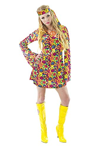 Womens 70s Hippy Multicolour Floral Dress - S to XL
