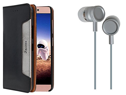 Jkobi Combo Of Branded PU Leather Flip Wallet Case Cover & Metal Body Stereo Earphones Handsfree For LeEco Le 2 (LeTV Le2) -Ethnic Black & Silver