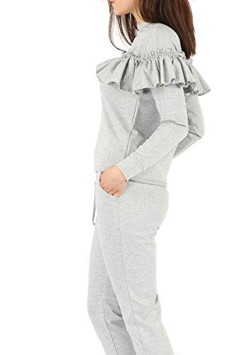 Girltalkfashions - Survêtement - Uni - Manches Longues - 100 DEN - Femme Gris