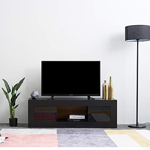 LED Meuble TV en Verre avec 2 Portes sur Salle de Séjour, Salon et Chambre à Coucher etc, Taile: 125 x 35 x 40 cm, Noir