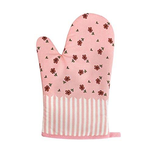 Jaminy Küche Baumwolle Mikrowelle Handschuhe Handschuhe Topf Pad Heat Proof Geschützt Kaffee (Rosa)