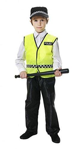 Henbrandt Kinder Jungen Mädchen Polizist Polizei Cop Kostüm Medium Gr. 7-9 Jahre, grün