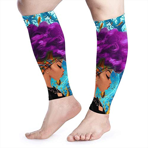 Zcfhike Black Art African Afro Girl Calf Compression Sleeves Men & Women Socks and Leg Wraps Runners Guards Sleeves for Varicose Veins Swelling Maternity Edema Nurses & Maternity (Afro Girl Kostüm)