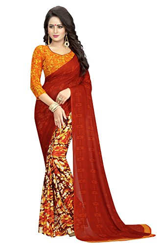 rangrasiya Georgette Saree With Blouse Piece (SG122112_Red_Free Size)