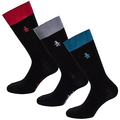 Original Penguin Men's Mshpe409Stm Socks, Black, One Size (Manufacturer Size: 7 to 11) pack of 3