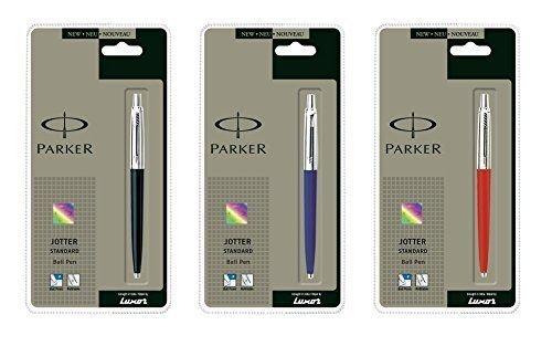 Parker jotter Parker Jotter 3 colori Nero 1 + 1 + 1 Blu Rosso Penna a sfera fine inchiostro blu