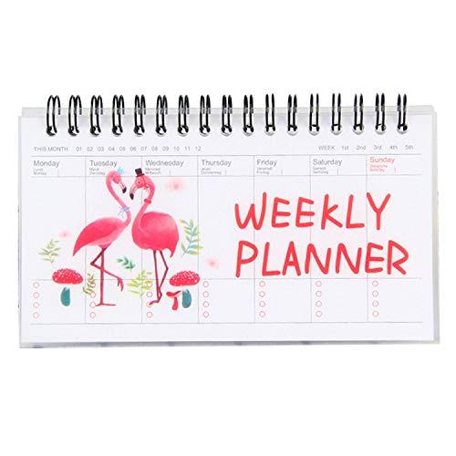 Preisvergleich Produktbild Wochenplan, Ringbuch, Kawaii Cartoon Desk Standing Wöchentlich Täglich Planer Notizblock mit 50 Blatt für Schule Büro Home Supplies Flamingo