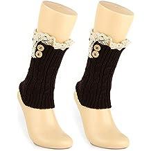 tininna Mujeres Crochet Tejer Invierno Botas Heavyweight calcetín Punta corta de botones calentadores Tiefer Kaffee