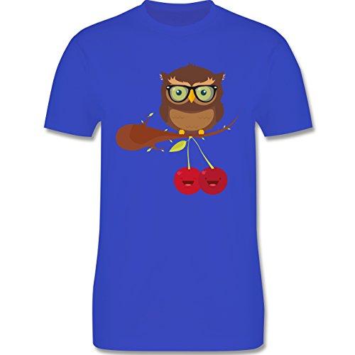 Eulen, Füchse & Co. - Süße Eule Hipster - Herren Premium T-Shirt Royalblau