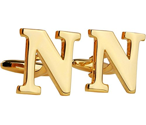Aienid Homme Chemise Paire Boutons de Manchette Acier Inoxydable Alphabet Lettre N d'or française