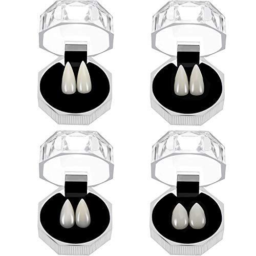 (4 Paare Halloween Vampir Zähne Zähne Zahnprothesen Vampire Falsche Zähne mit Aufbewahrungsbox für Cosplay Halloween Themen Party Favors Foto Prop Trick Spielzeug, 4 Größen)