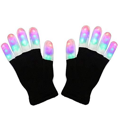 Charlemain LED Handschuhe mit 3 Lichtfarbe und 6 Modus, blinkende Handschuhe Spielzeug für Weihnachten, Halloween, Kostüm Beleuchtung Geschenke für Kinder, Mädchen, Junge, Erwachsene, zum Geburztag.