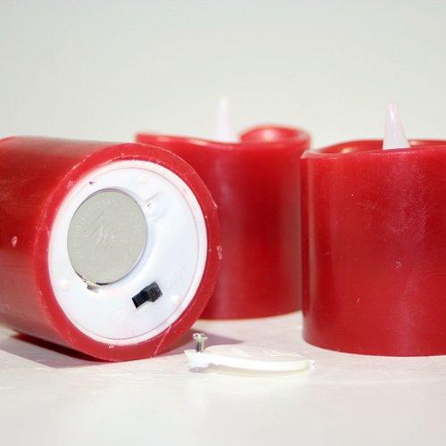 Star - Set de 3 velas LED (aprox. 6 x 5 cm, incluye pilas) , color rojo