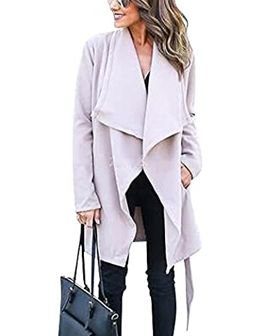 Minetom Womens Ladies Autumn Winter Longline Waterfall Collar with Belted Longline Loose Parka Coat Cardigan Jacket Top Light gray UK