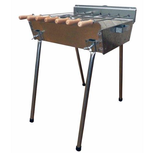 EPOS Profi Barbecue - Holzkohle Spießgrill 45 x 31 cm mit Grillmotor + 7 Edelstahlspieße + Deckel