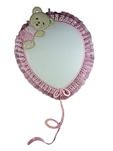 Fiocco nascita/coccarda rosa palloncino con orsetto con aida da ricamare il nome del bebe' lavorato del tutto a mano
