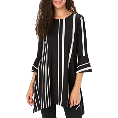 MEIbax Damen Mode Casual Daily Streifen Print Fashion Party Club Tops Shirt Bluse Oberteile Langarmshirt Hemd
