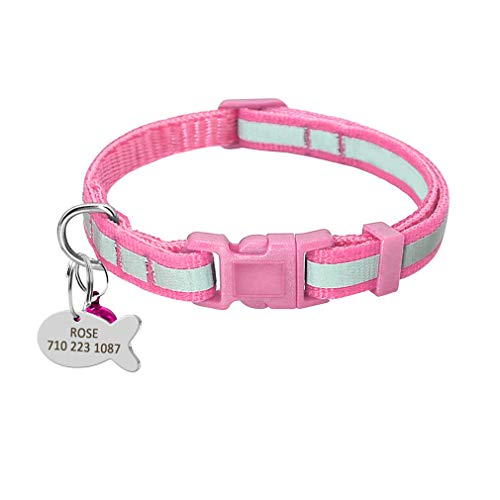 Yiqinyuan Personalisierte Hundekatze Halsband reflektierende Nylon Nacht Sicherheit Hundehalsbänder graviert benutzerdefinierte Katzenhalsband Anti-Lost ID-Tag kleine Hunde Katze Pink XS (Kleine Safety Cones)