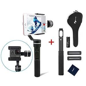 Feiyu Tech SPG ( Upgraded splash waterproof version )3 axes stabilisateur avec 4 voies Joystick Support BT télécommande contrôle pour Smartphone 50mm - 80mm de largeur pour GoPro Hero 5/4/3/3 and iPhone 7plus,7, 6 plus, 6, 5S, 5C, SAMSUNG Galaxy S6 edge, S6, S5, S4, SIII, Note 4, 3, A7, A5, A3, Motorola, Sony, Sony Ericsson, Blackberry+ et autres caméras de Dimension similaire +( 1 batterie supplémentaire et 1 perche télescopique )