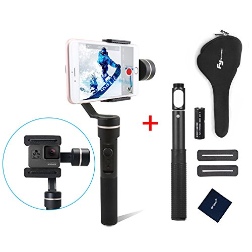 Feiyu SPG (Upgraded Splash waterproof version) 360° Limitless bluetooth 3 Axis Handheld Steady Gimbal PTZ Camera Mount for Gopro hero 5/4/3 and iPhone 7 plus/7/6/5 SAMSUNG Galaxy S6 edge, S6, S5, S4, SIII, Note 4, 3, A7, A5, A3, Motorola, Sony, Sony Ericsson, Blackberry smartphone +(1 pcs extra battery and 1 pcs extension pole)