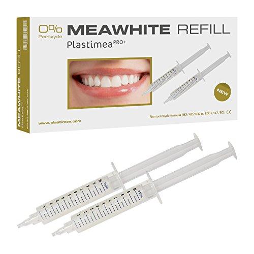 MEAWHITE Nachfüllset – ERSATZ-GELE für eine professionelle ZAHNAUFHELLUNG – 2 Spritzen zu je 10 ml Bleaching Gel - OHNE PEROXID ! Schonend für Zähne & Zahnfleisch