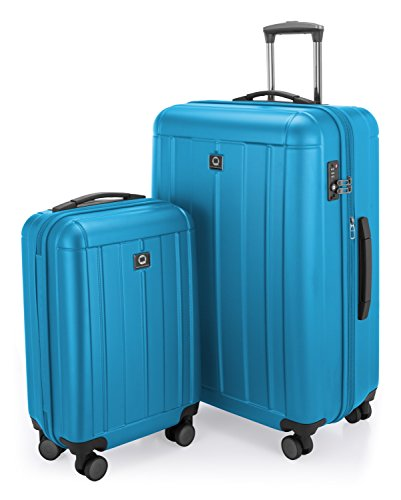 HAUPTSTADTKOFFER - Kotti - 2er Koffer-Set Trolley-Set Rollkoffer Reisekoffer, TSA, (S & L), Cyan Blau matt - 3-teiliges Polycarbonat-spinner