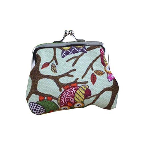 YJYdada Damen Geldbörse mit Eulenmotiv, hübscher Stil, klein, D, 9X7cm