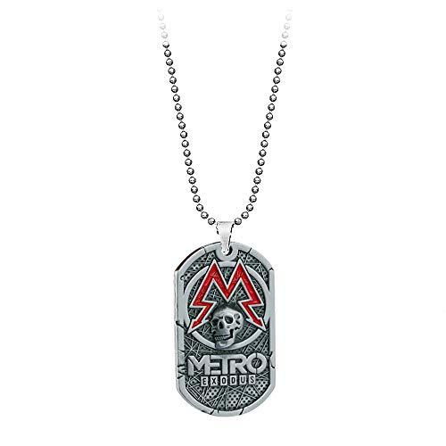 VAWAA Pc Game Metro Exodus 2033 Halskette Dog Tag Pendant Leder Metal Chain Männer Halsketten Charm Geschenke Für Kids Games Schmuck