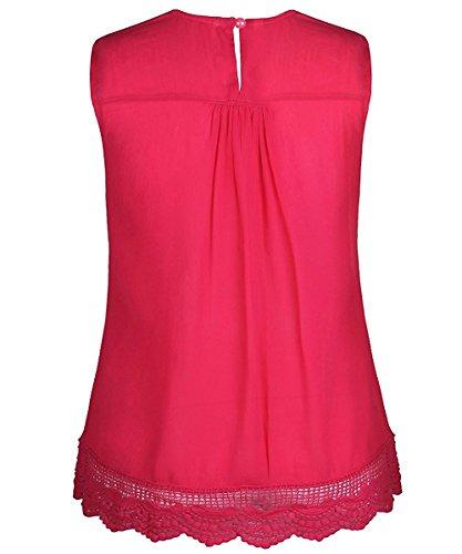 WanYang Damen Sommer Mode Weste Kurzarm Bluse Lässige Tank Tops T-Shirt Rose