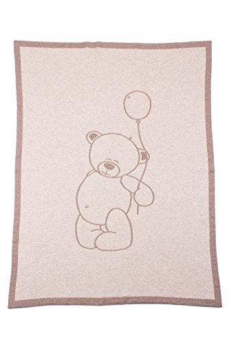 Love Cashmere Couverture Emmaillotée en 100% Cachemire pour Bébé - Naturel - Ours en Peluche - Fait main à Écosse par