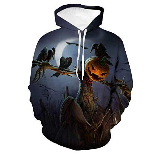 CSY-IPSE Neutral Hoodie Herren 3D Print Hoodie Langarm Sweatshirt & Tasche, Baseball Pullover, Kürbis Thema Party Kostüm, (S Themen Kostüm Für Paare)