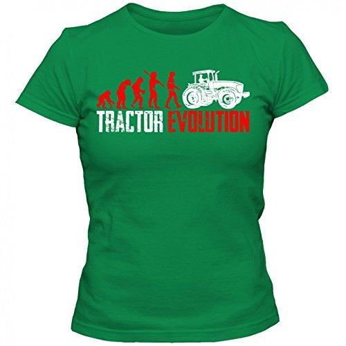 Traktor Evolution #1 T-Shirt | Landwirt | Bauer | Traktorfahrer | Frauen | Shirt Hellgrün (Kelly Green L191)
