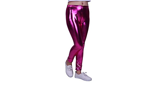 5047a6a93d609 HDE Girls Shiny Wet Look Leggings Kids Liquid Metallic Footless Tights  (Pink, 4/5)