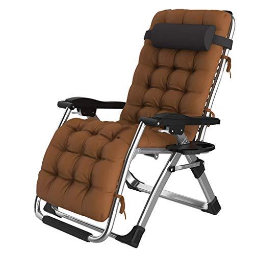 HURRUI- Textoline Schwerelosigkeit Stuhl, Sonnenliege Garten Relaxer Sling Chair Folding Recliner Reclining Patio Stühle mit Kissen for Terrasse, Camping, Strand, Outdoor (Color : Brown) (Brown-patio-stuhl-kissen)