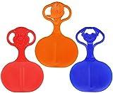 com-four® 3X Schneeflitzer Schneerutscher Rutscher Schlitten mit Motiv im Griff in verschiedenen frischen Farben...