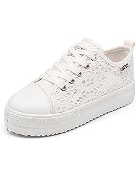 Damen Plateau Sneaker Atmungsaktiv Sommer Schnürhalbschuhe Freizeit Schuhe 3.8cm Schwarz Weiß 35-42