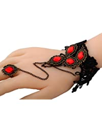 Anillo de encaje Yazilind Red Resina Anillo pendiente de la aleación de piedra Cadena Negro Pulsera Joyería Set para la Mujer