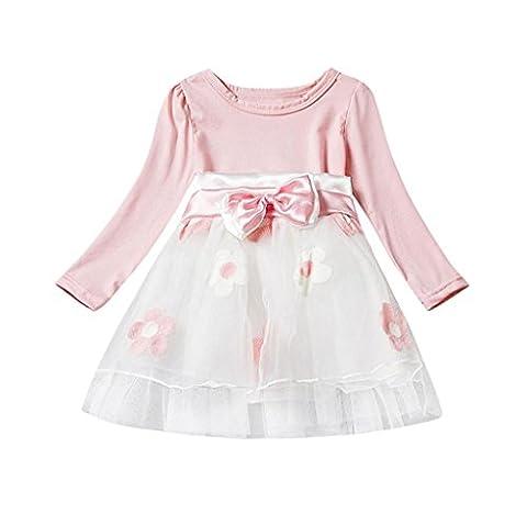 Covermason Winter Baby Langarm Blume Bowknot Tüll Tutu Party Prinzessin Kleid (0-6 Monate, Rosa)