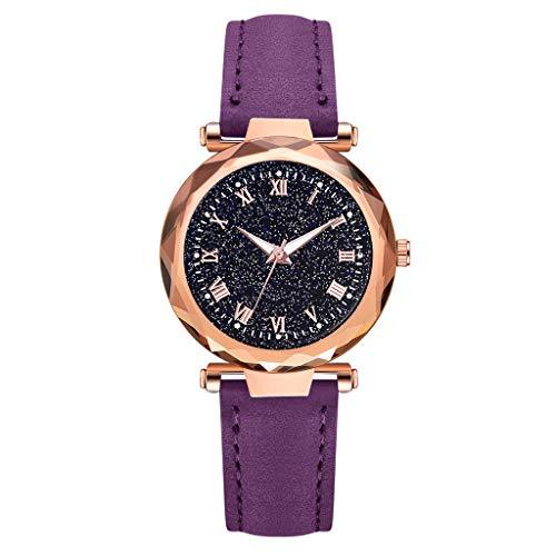 REALIKE Damen Armbanduhren Retro Round Diamant Lederband Nachthimmel Uhren Mehrfache Farben Freizeit Einfach Ultradünn Britische Artart und Weise Neue High End Geschäftsuhr Business