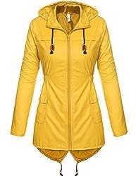Trudge Damen Regenjacke Windjacke Regenmantel Regenparka Übergangsjacke Funktionsjacke Mit Kapuze TascheWasserdicht Atmungsaktiv (L, Gelb)